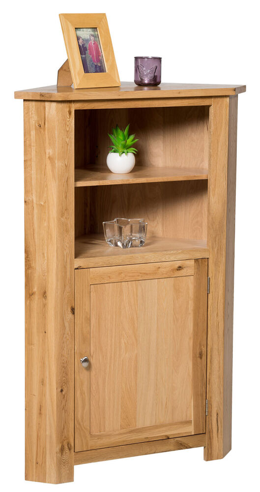 Spiegelschrank Massivholz Tall Oak Corner Storage Cupboard | Low Cabinet With Shelf