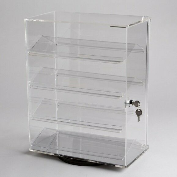 Revolving Vertical Acrylic Counter Top Locking Jewelry