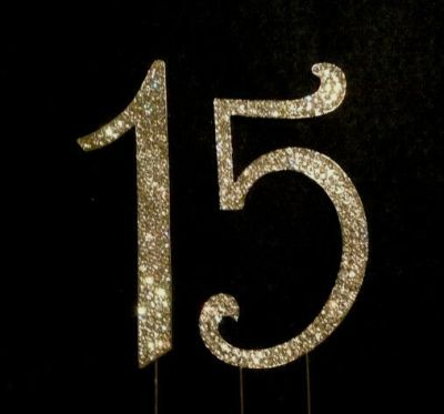 GOLD Rhinestone Crystal Covered 15 Quinceanera 15th Birthday Number Cake Topper | eBay