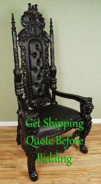 6' Carved Mahogany King Lion Gothic Throne Chair Black ...