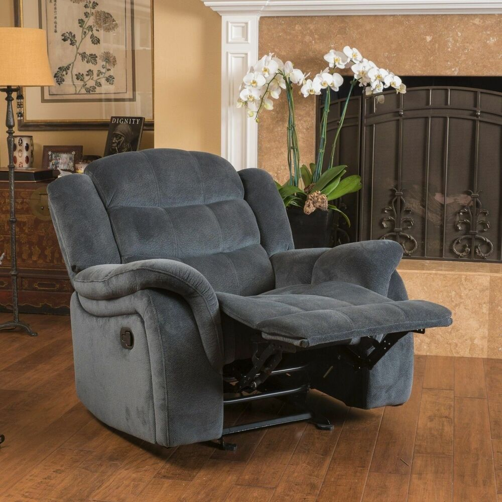 Furniture Recliner Chair Emryka Contemporary Gray Fabric Glider Recliner | Ebay