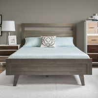 Platform Bed Queen Modern Mid Century Grey Gray Wood ...