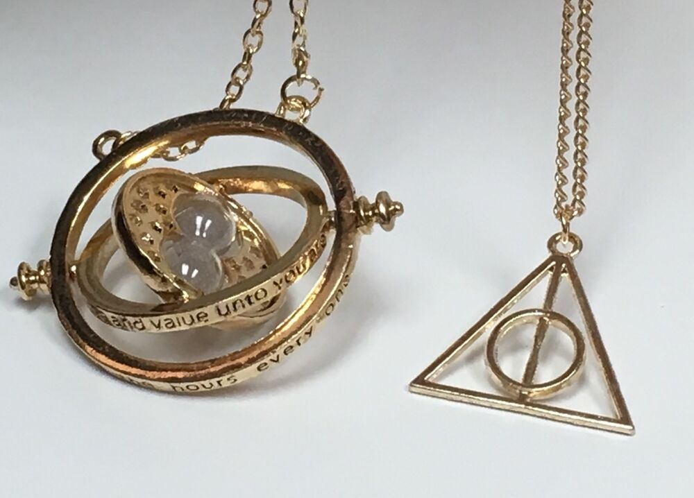 Harry Potter Necklace Time Turner Gold Deathly Hallow