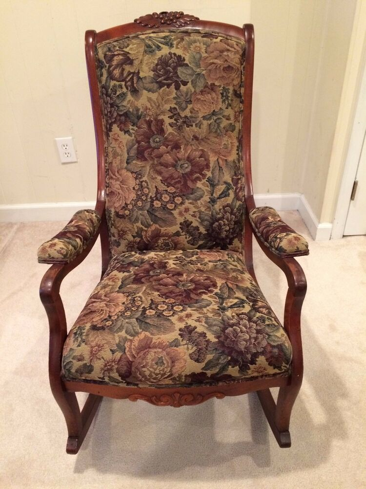 Beautiful Vintage Wood Tapestry 1930s Rocking Chair Ebay