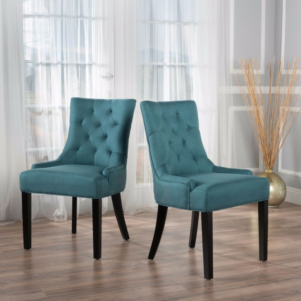 Upholstered Chairs With Nailheads Stacy Fabric Diamond Tufted Back Dining Chairs Set Of 2