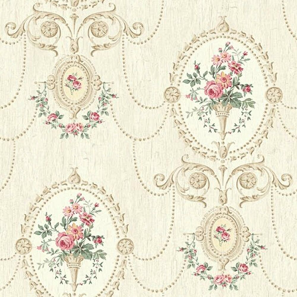 Shabby Chic Dollhouse Miniature Shabby Chic Wallpaper Pink And Tan Victorian Floral 1 12 Ebay