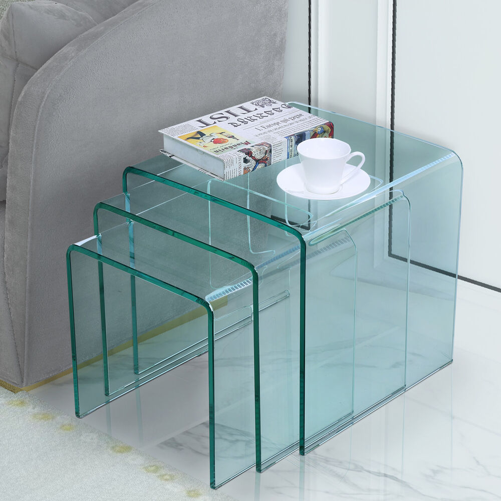 Glass Nesting Tables Framodo Bent Glass Coffee Table Set Of 3 Pcs Stacking Nesting End Side Tables 717880920013 Ebay