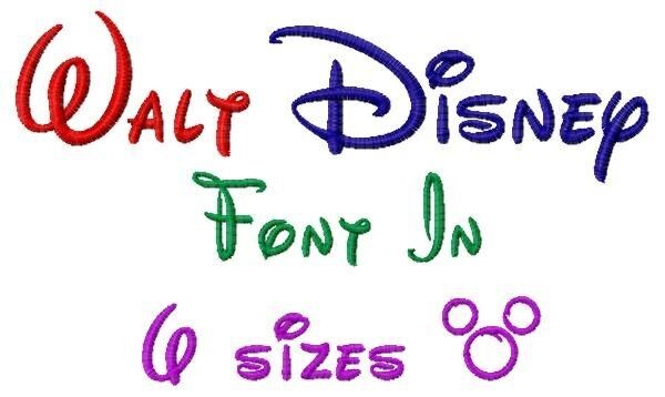 Walt Disney Font Machine Embroidery Designs on CD in 6 sizes Family