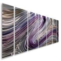 Modern Abstract Purple/Silver Painting Metal Wall Art ...