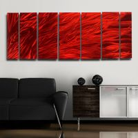 Large Red Modern Metal Abstract Wall Art Painting ...