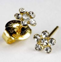Clear Crystal Daisy Flower Gold Studs Ear Piercing ...