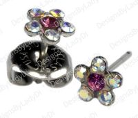 Rainbow Crystal Daisy Flower Silver Studs Ear Piercing ...