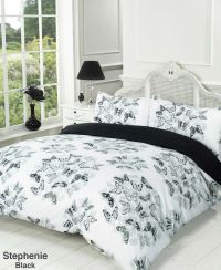 Stephanie Black and White BUTTERFLY Reversible Duvet Quilt ...
