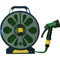 15M 50FT FLAT GARDEN HOSE PIPE & REEL WITH SPRAY GUN ...