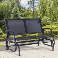 Outsunny Patio Double 2 Person Glider Bench Rocker Porch ...