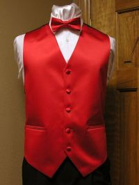 Vest Red Matte Satin Full Back Bow Tie Steampunk Tuxedo