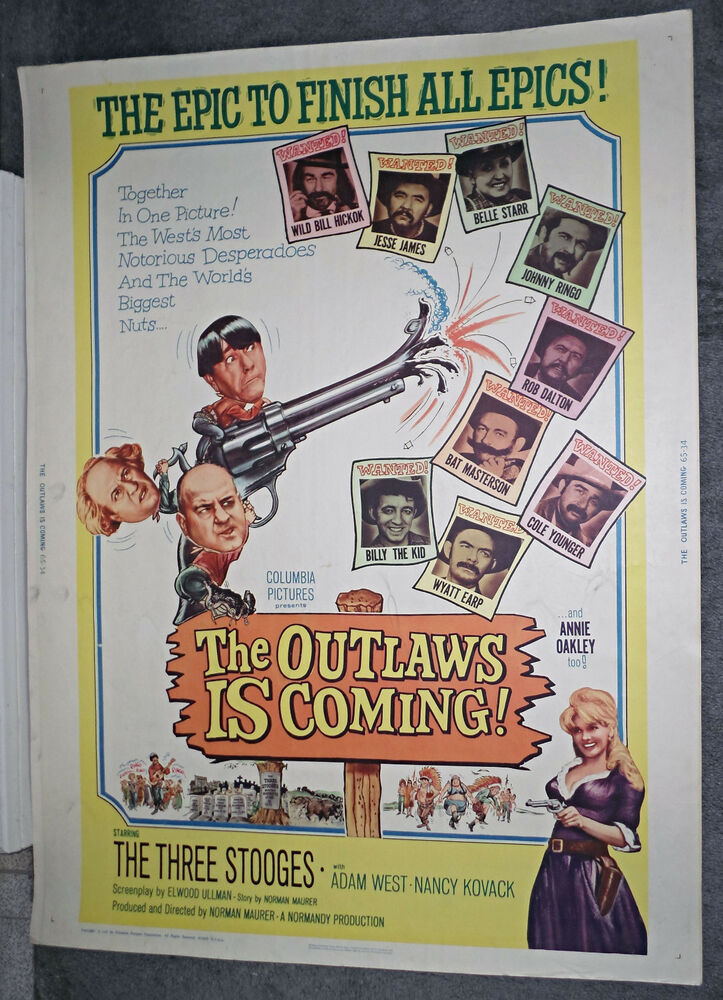 Poster 30x40 The Outlaws Is Coming Original 1965 30x40 Rolled Movie