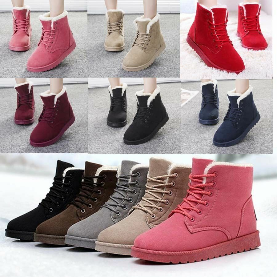 Women39s Flat Lace Up Fur Lined Winter Martin Boots Snow