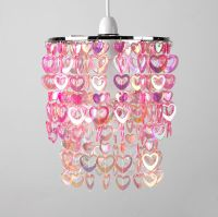 Girls Childrens Bedroom Nursery Pink Hearts Ceiling Light ...