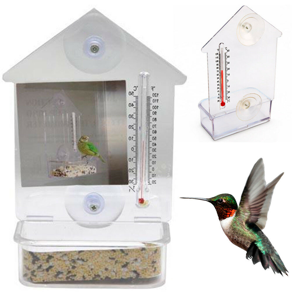 Bird Feeder Window Suction Cup Mixed Treat Clear Holder