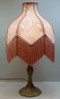 Victorian Reproduction Table Lamp Bronze Tone Base Pink ...