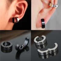 1 Pair Punk Men Stainless Steel Non-Piercing Clip On Ear ...
