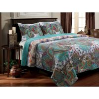 3-Piece King Quilt Set Reversible Paisley Turquoise Teal ...