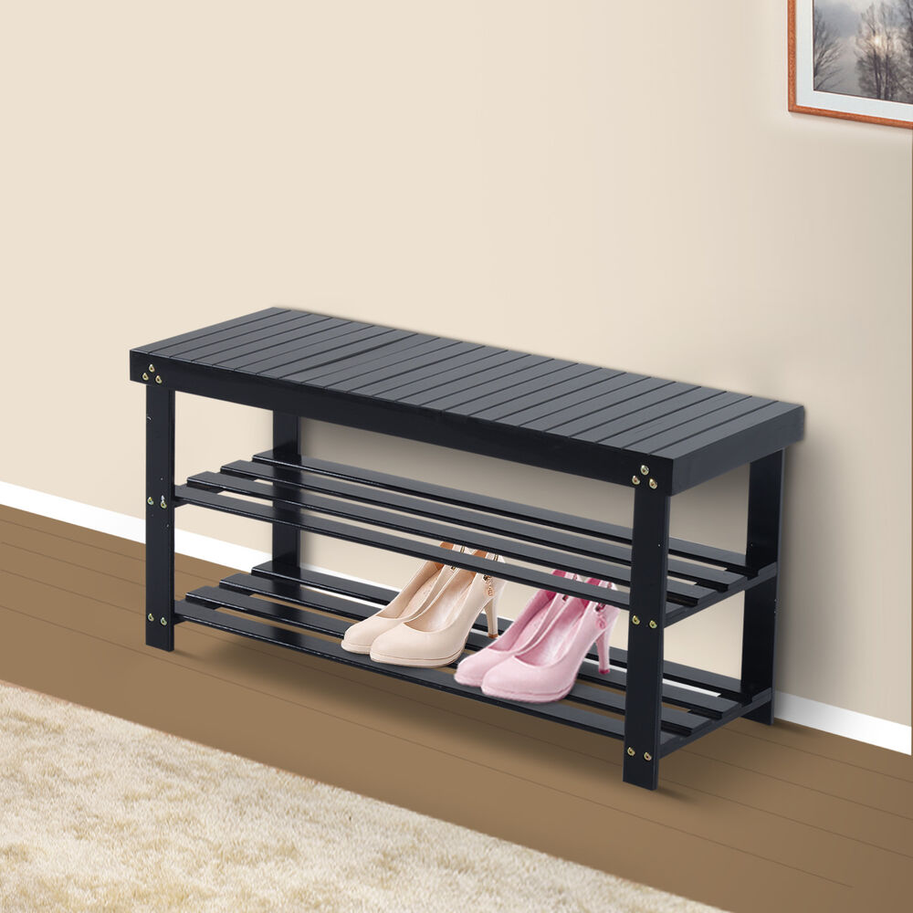 Wooden Shoe Bench Storage Seat 2 Shelves Rack Organizer