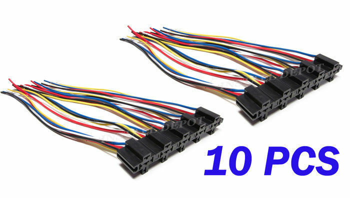 10) EXTRA LONG 5-WIRE RELAY SOCKETS CONNECTOR 12 VOLT CAR ALARM