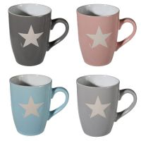 4 X STAR MUGS SET COFFEE TEA STONEWARE MUG CUP DRINKING ...