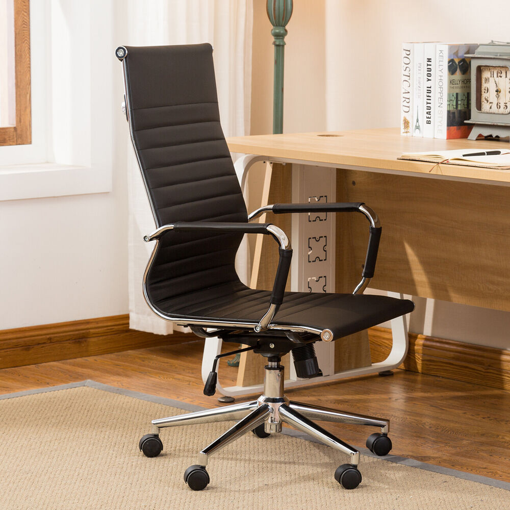 Schreibtisch Und Stuhl Ergonomic Ribbed Pu Leather High Back Executive Computer