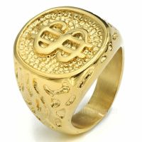 Mens Boys 18K Gold Plated $ Money Cash Sign Band Stainless ...
