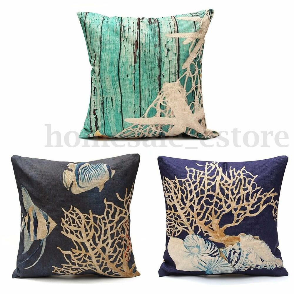 Nautical Sofa Throws Ocean Coastal Beach Nautical Throw Pillow Case Cushion Cover Sofa Home Decor Ebay