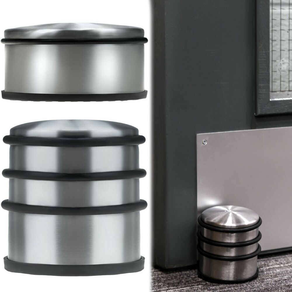 Heavy Weight Door Stop Round Chrome Metal Door Stopper Stop Rubber Floor Protector Heavy Weight Duty Ebay