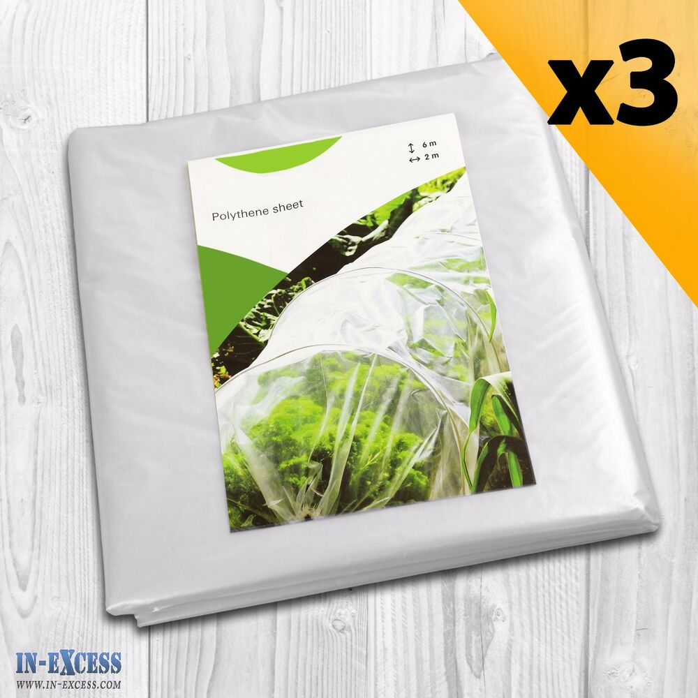 Serre Tunnel 3 X 6 Qty Of 3 Polythene Sheet 6m X 2m Plant Greenhouse Poly Tunnel Replacement Cover Ebay