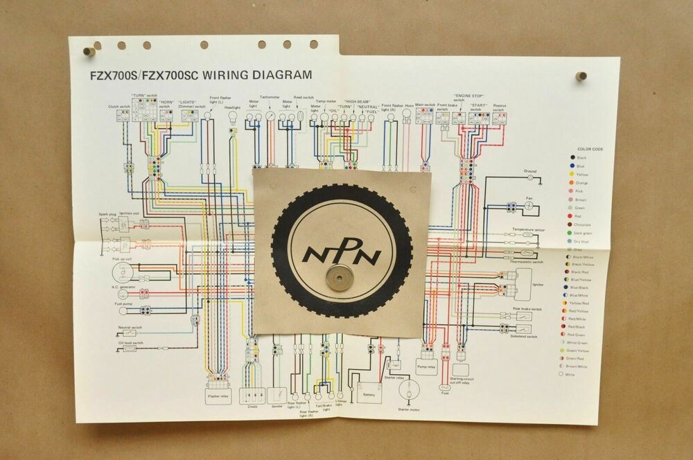 Vtg 1986 Yamaha Fazer FZX700 S FZX700 SC Color Schematic Wire Wiring