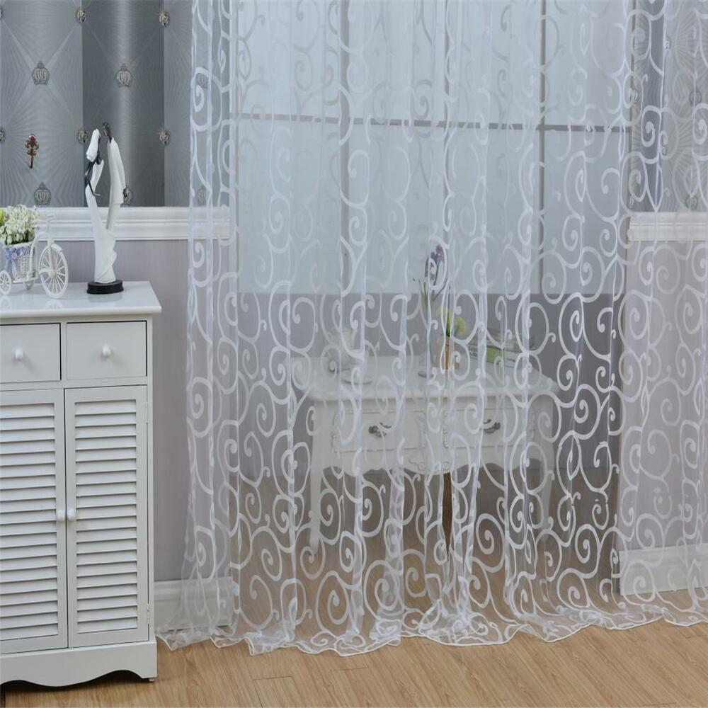 French Lace Curtains Elegant Villa Window Grommet Blackout Lace Curtains Blinds Set Of 2 Panels White Ebay