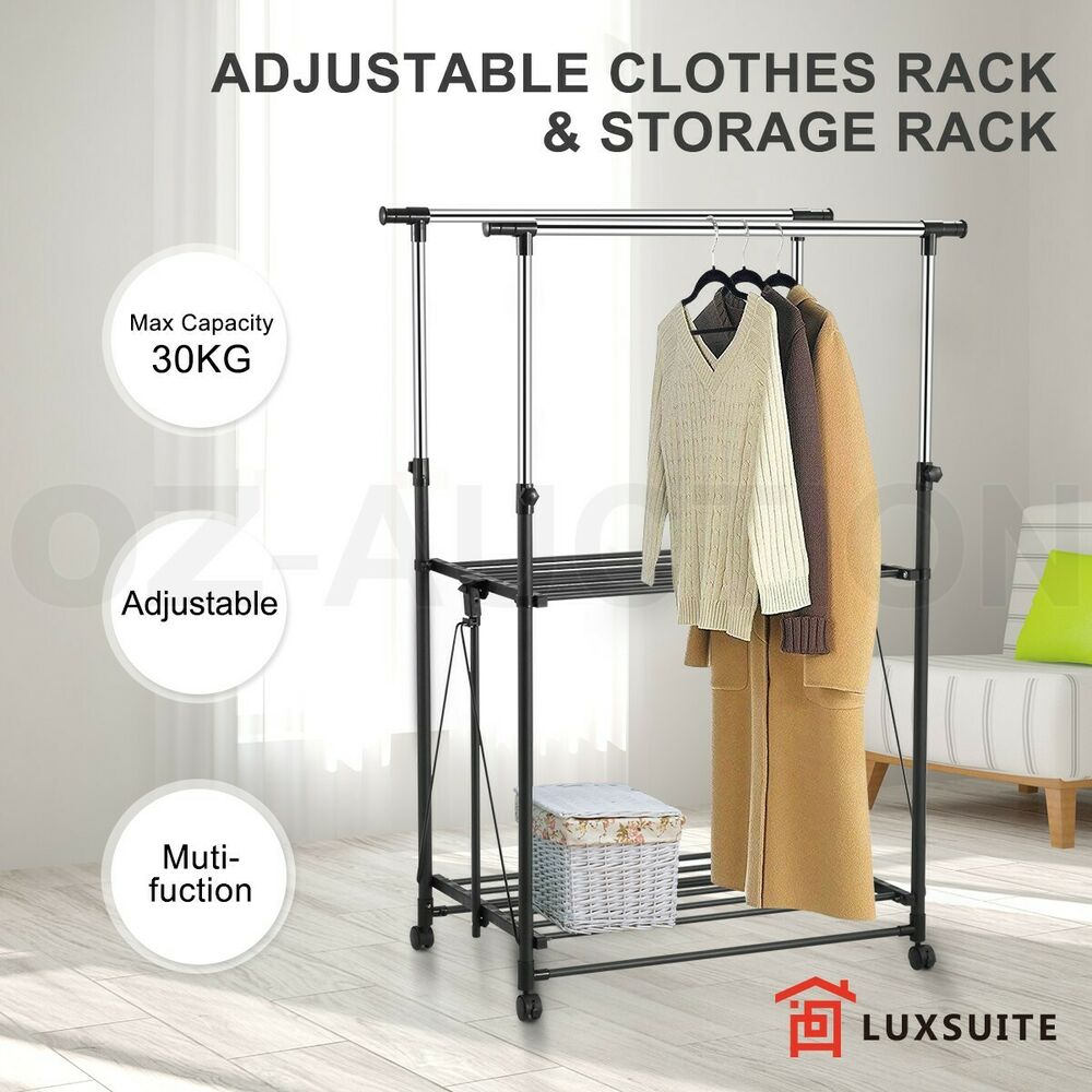 Cloth Hanger Stand Foldable Clothes Rack Garment Hanger Stand Double Rail Shoe Shelf