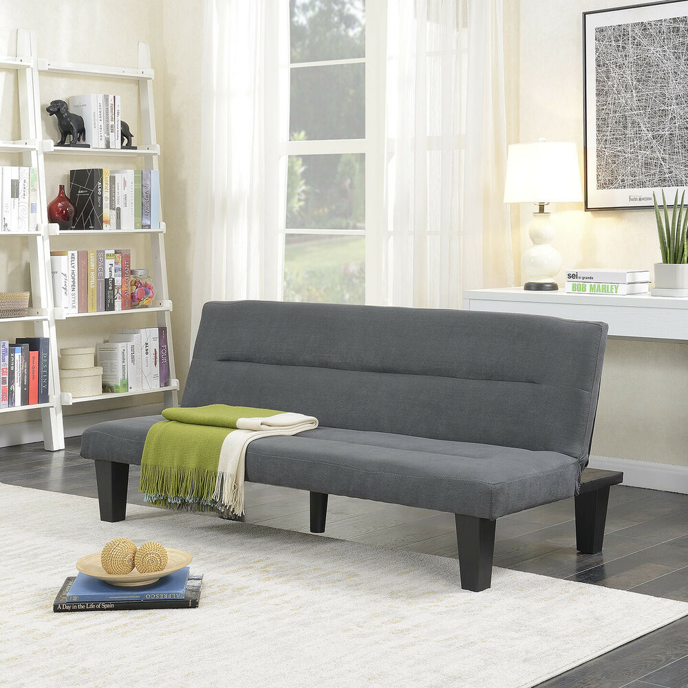 Sofa Bed In Hotels Futon Sofa Bed Furniture Gray Sleeper Lounger Convertible Low Seat Microfiber Ebay