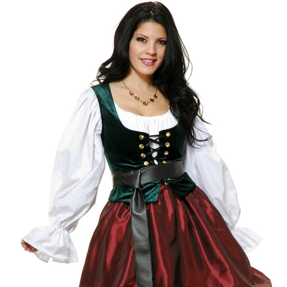 Adult Woman Renaissance Pirate Medieval Green Bodice Lace