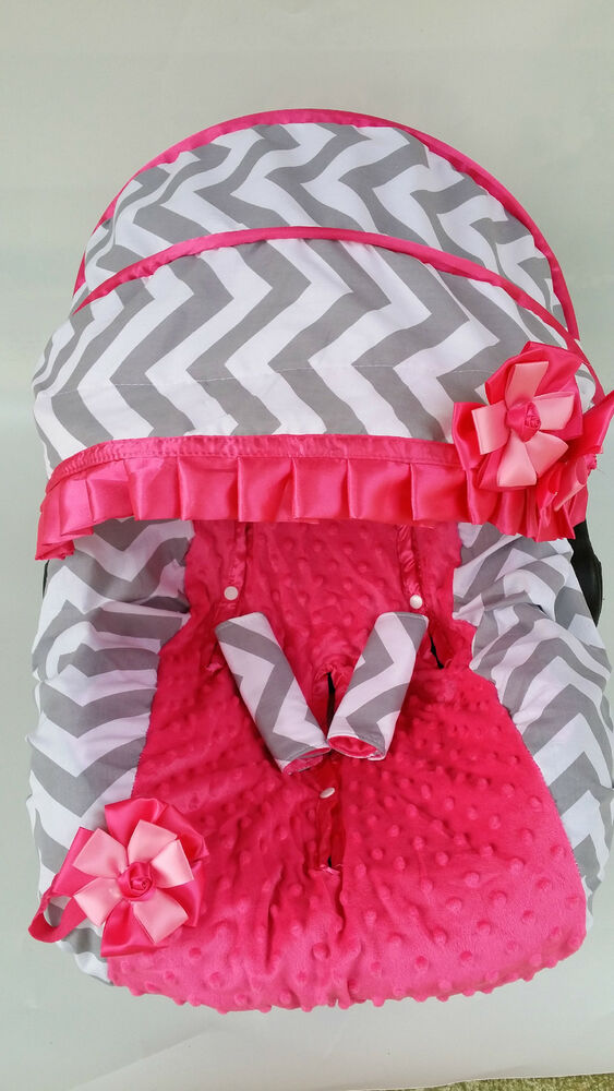 Newborn Car Seat Accessories Baby Girl Gray Pink Infant Car Seat Cover Canopy Cover Fit