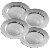 Set Of 4 Silver Charger Plates Lacquer Wedding Xmas Dinner ...