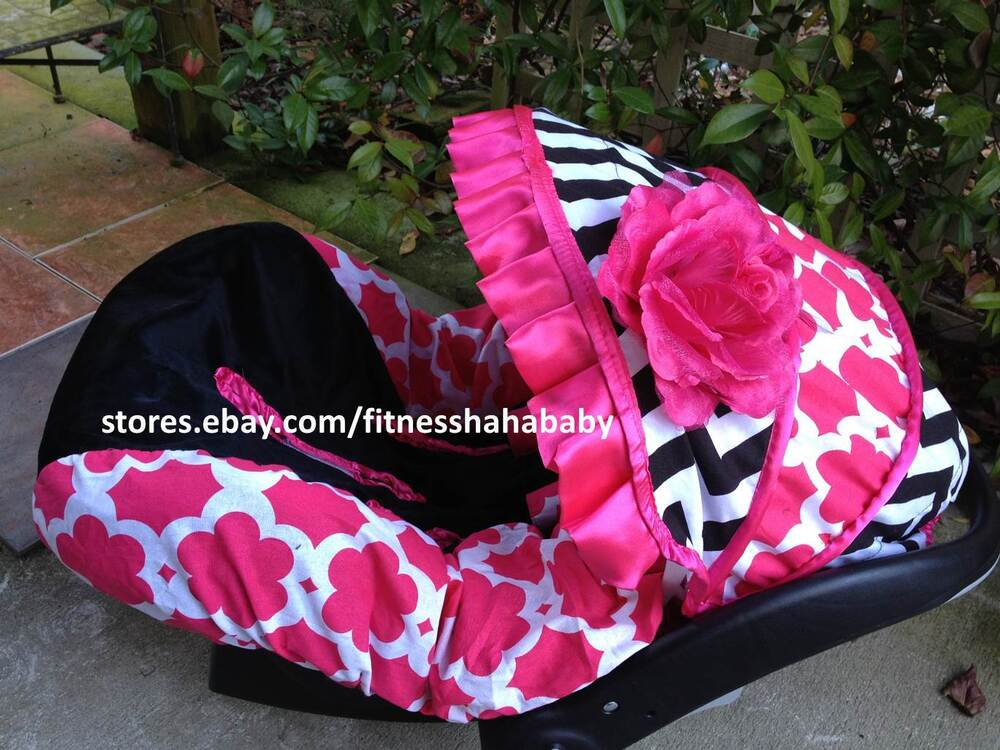 Infant Car Seat Covers Girl Babygirl Chevron Blac Pink Infant Car Seat Canopy Cover