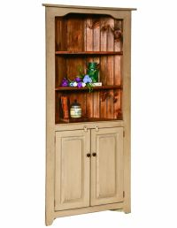 CORNER CHINA HUTCH KITCHEN CABINET Country Farmhouse Amish