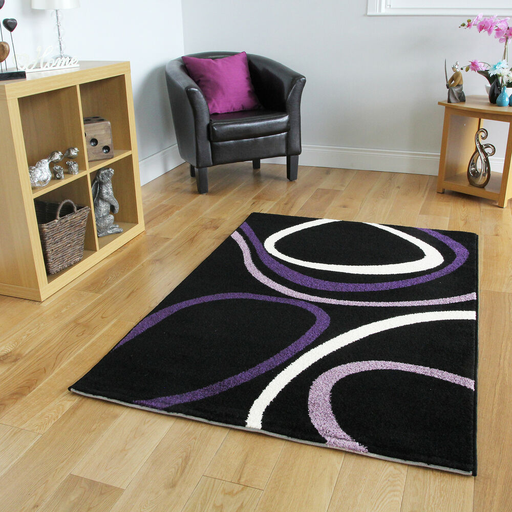 Small Large Low Cost Modern Rug Easy Clean Swirl Black