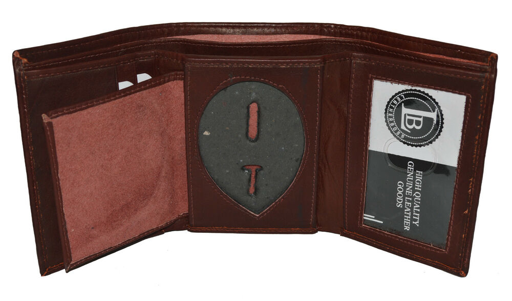 Leather Badge Id Holder 39shield39 Shape Trifold Brown