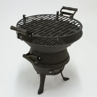 Black Portable Cast Iron Charcoal BBQ Grill Fire Pit ...