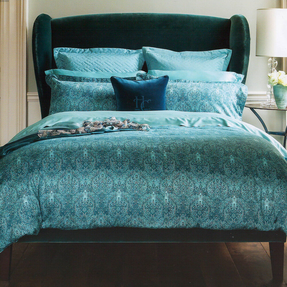 Teal Quilt Cover Henry Christy 1850 Alhambra Teal Blue Cotton Double Duvet