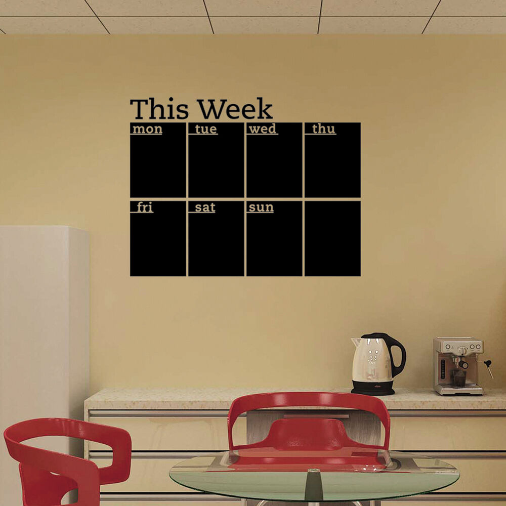 Black Removable Wallpaper Calendar Wall Stickers 7 Decals Home Office College Dorm