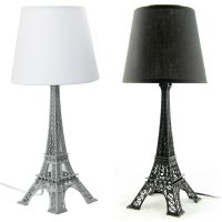 Eiffel Tower Bedside Table Lamp Black/White Shade, H52cm ...